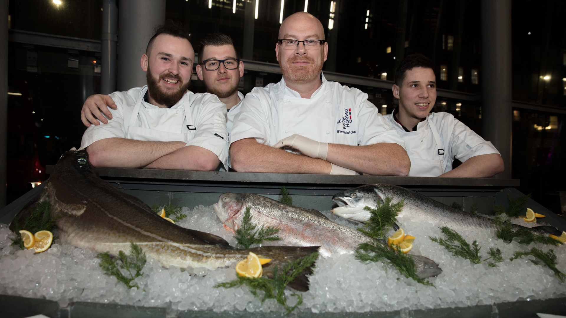 Simon Hulstone and his team, who served Seafood from Norway's Skrei cod and fjord trout at the event
