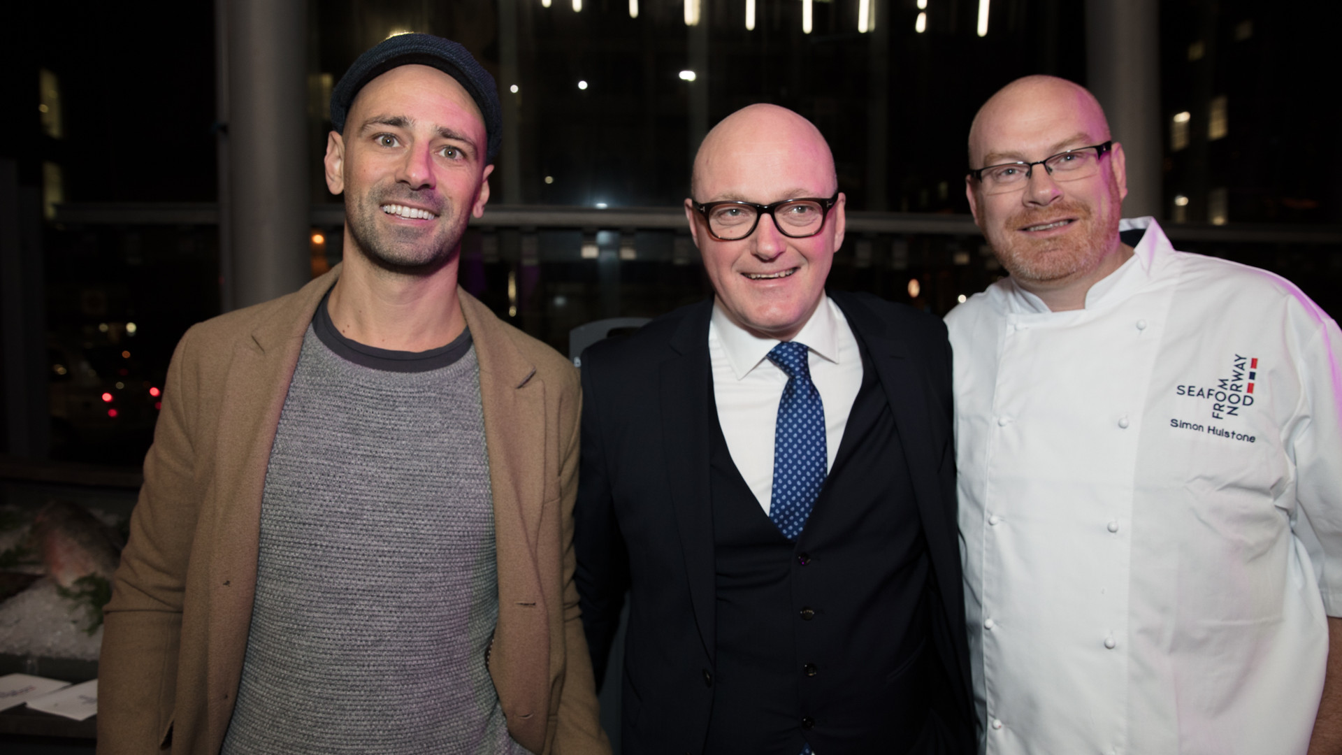 Square Up Media CEO Tim Slee with Simon Hulstone and Hans Frode, UK director at Seafood from Norway
