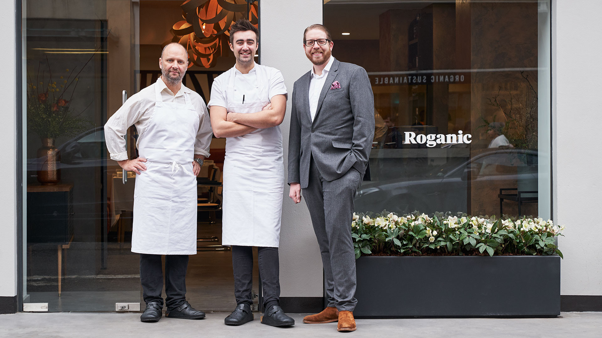 Simon Rogan with Roganic's head chef Oliver Marlow and general manager James Foster