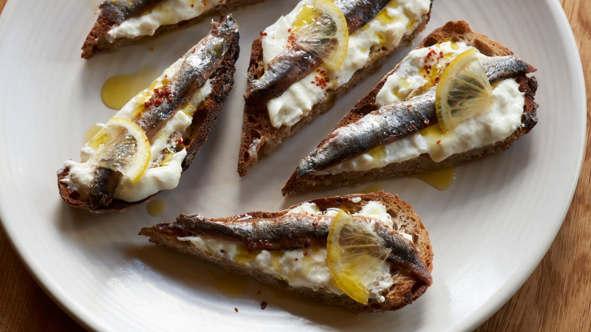 Stracciatella,lemons and anchovy from Palentino, Clerkenwell