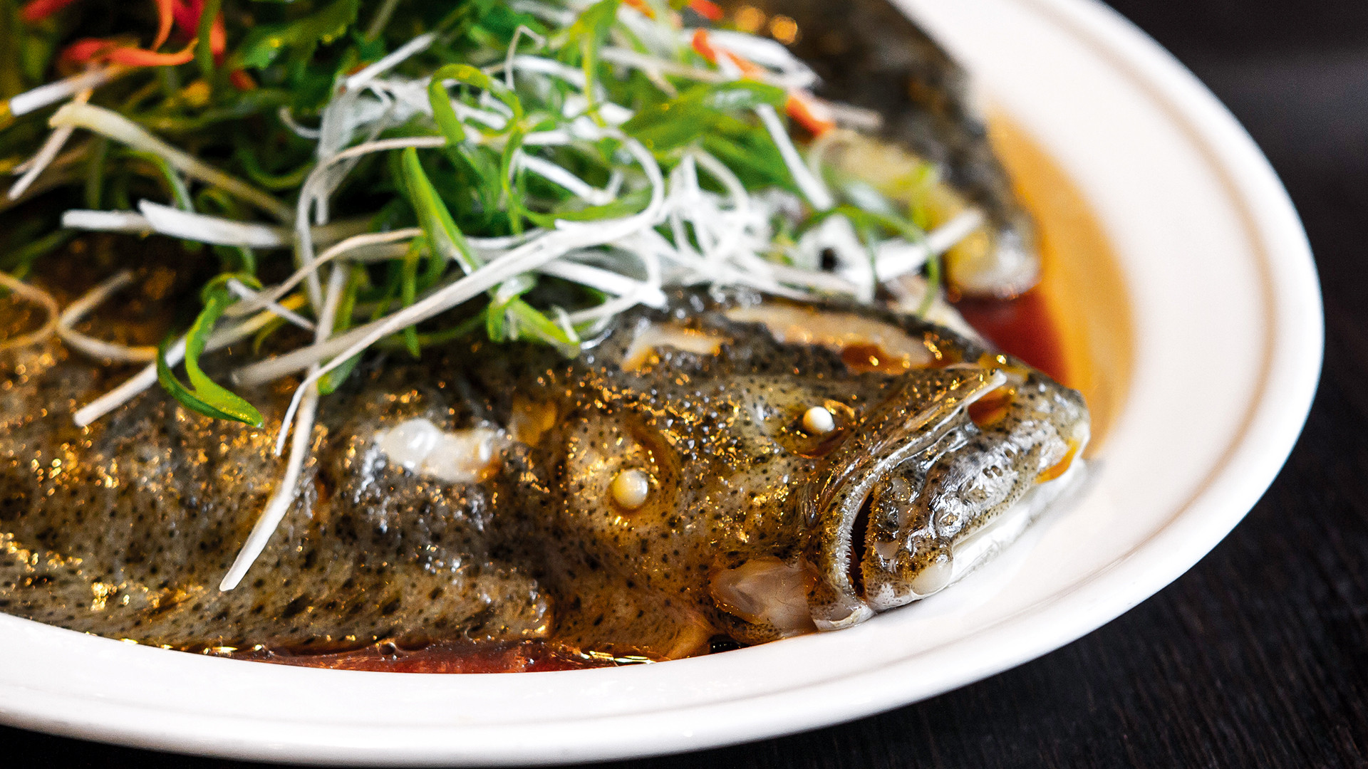 Cantonese steamed turbot at Plum Valley