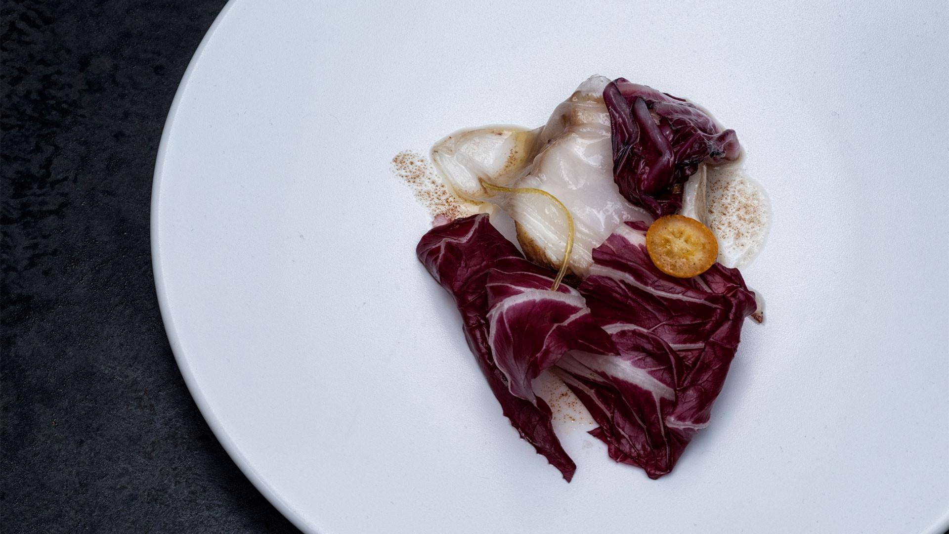 Monkfish with lardo, radicchio and bottarga from Serge et le Phoque