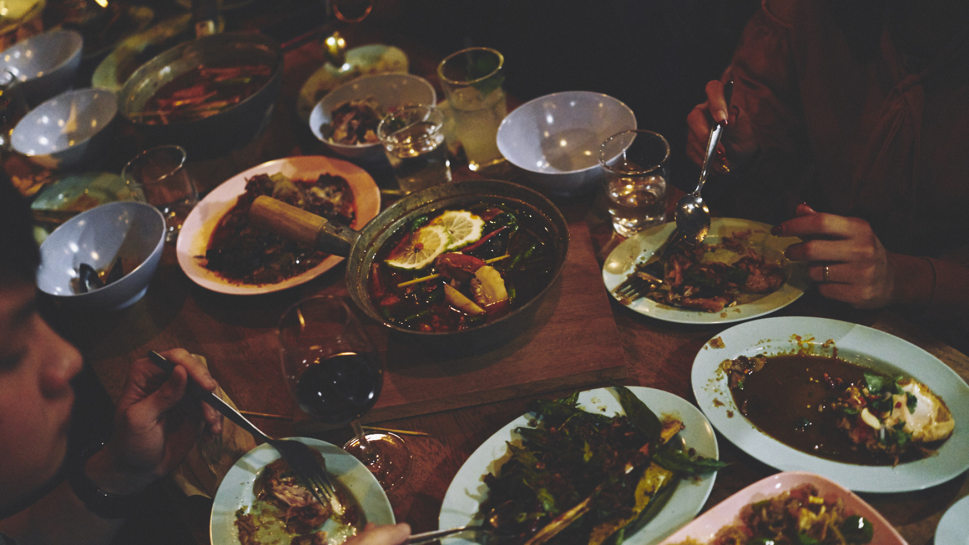 A table of dishes, served feasting-style, at Smoking Goat Shoreditch