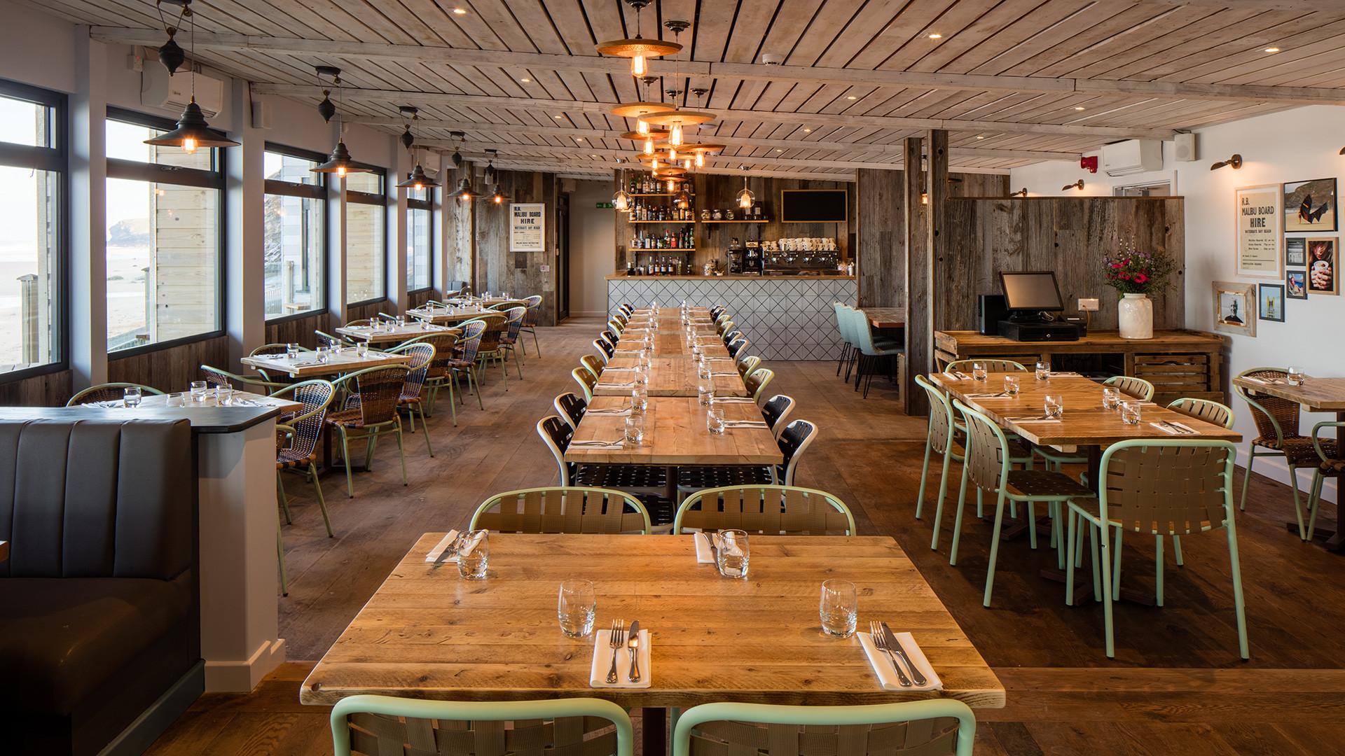 Inside Watergate Bay's Beach Hut restaurant