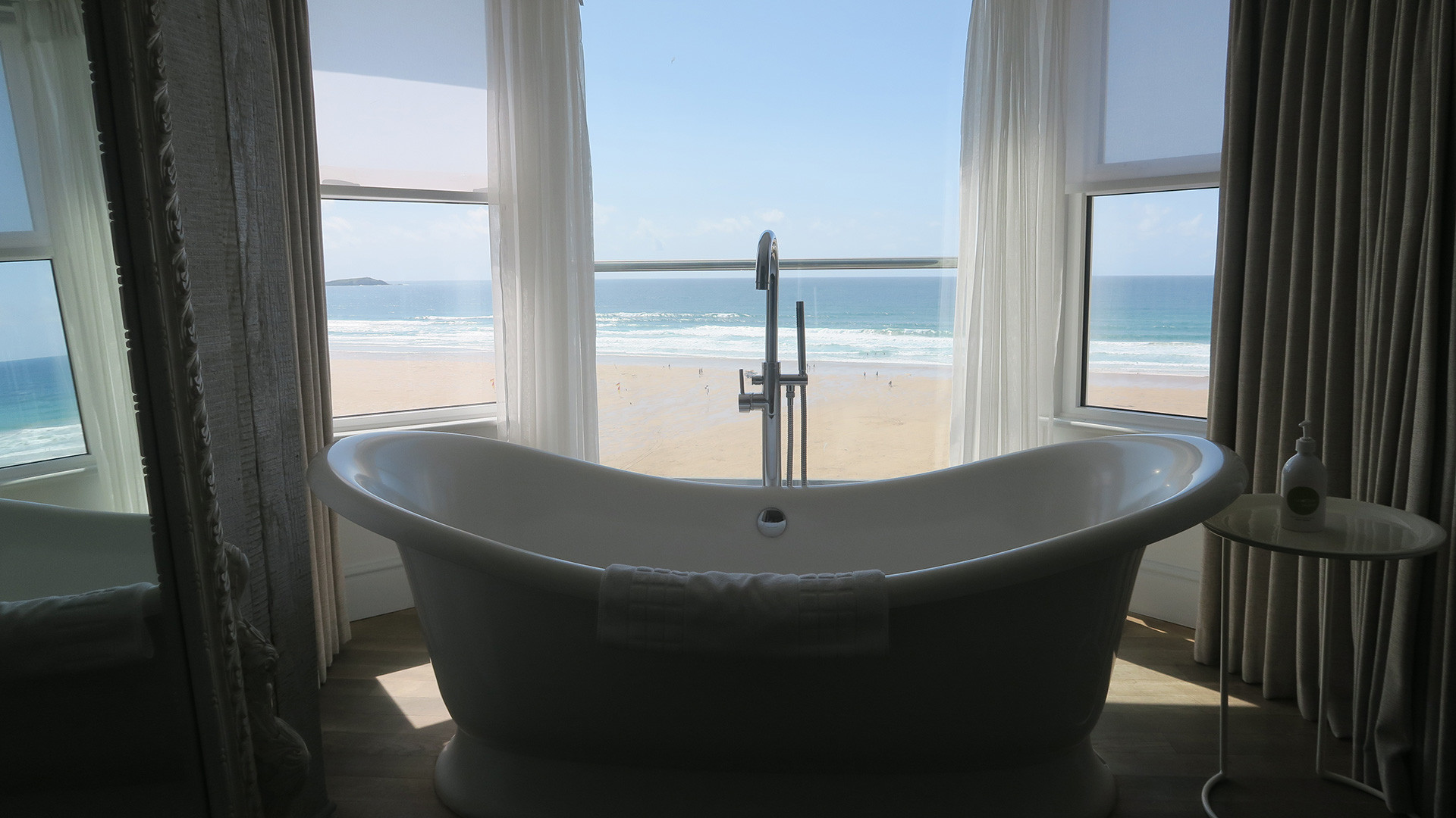 View of the sea from one of Watergate Bay's bathrooms