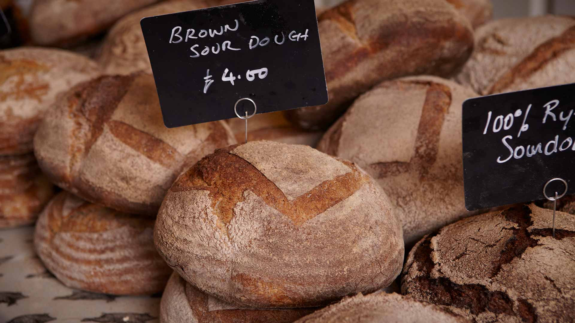 Brown sourdough from St. John's Bakery, Druids Street