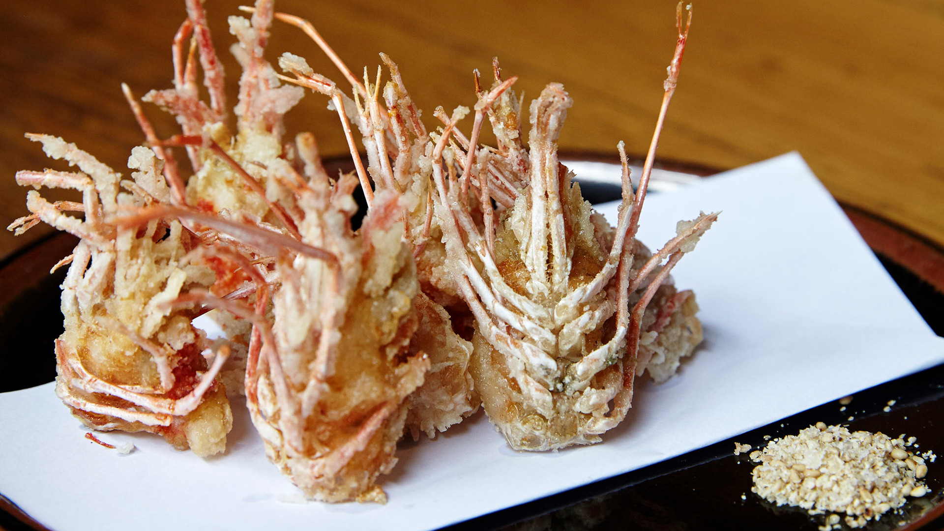 Deep fried prawn heads from Koya in the city