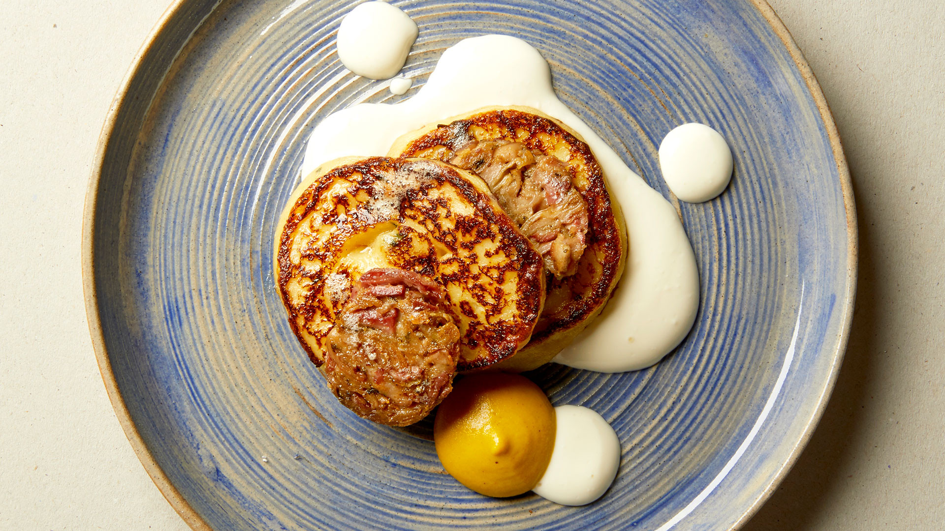 Bacon crapiaux with andouillette and mustard from Tate Modern L9 Restaurant