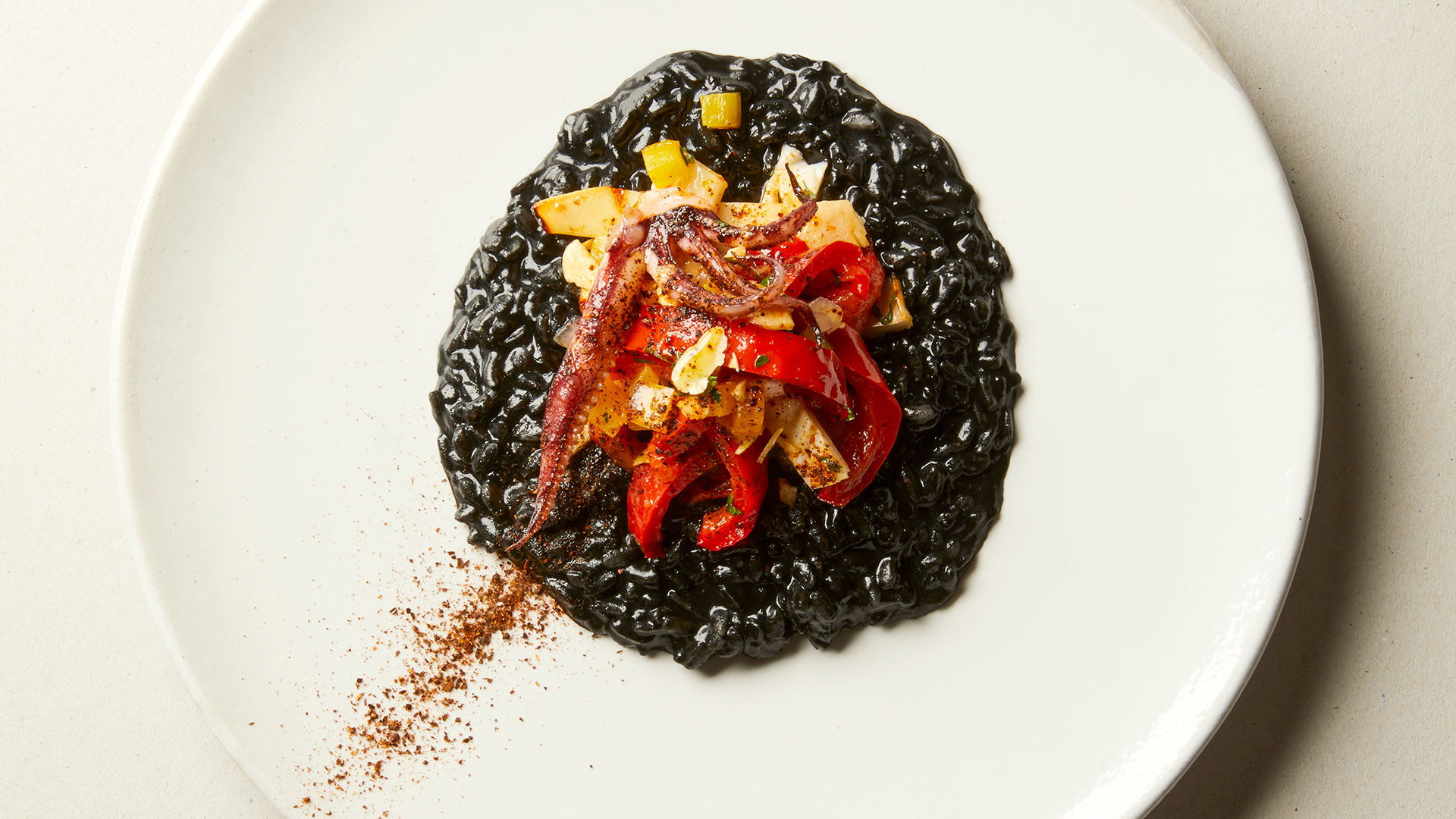 Seared squid with black rice, peppers and almonds from Tate Modern L9 Restaurant