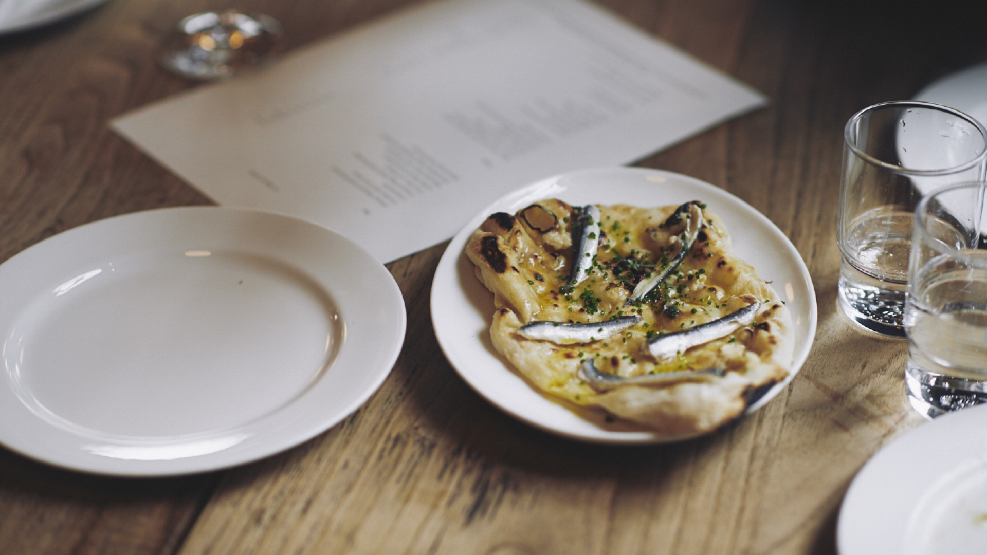 Anchovy flatbread at Brat in Shoreditch