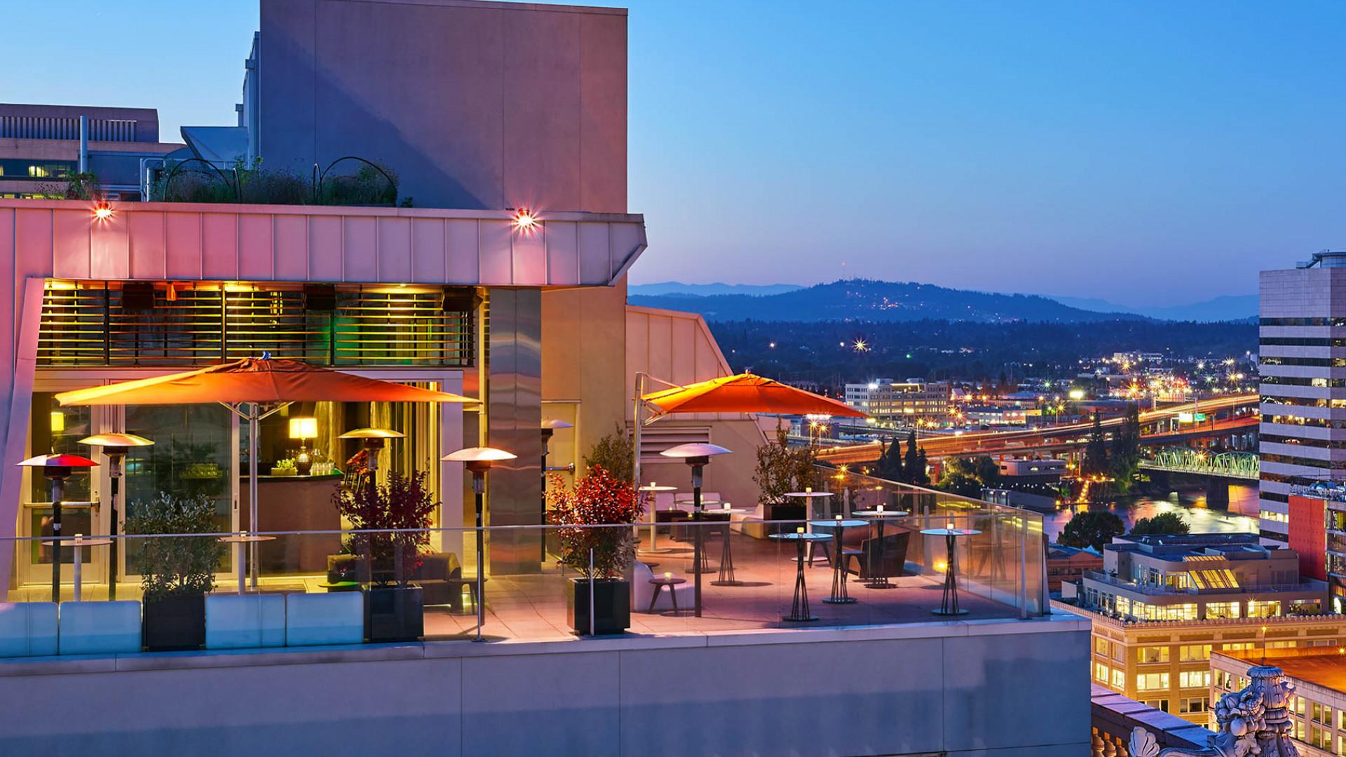 Departure restaurant's rooftop terrace in Portland, Oregon
