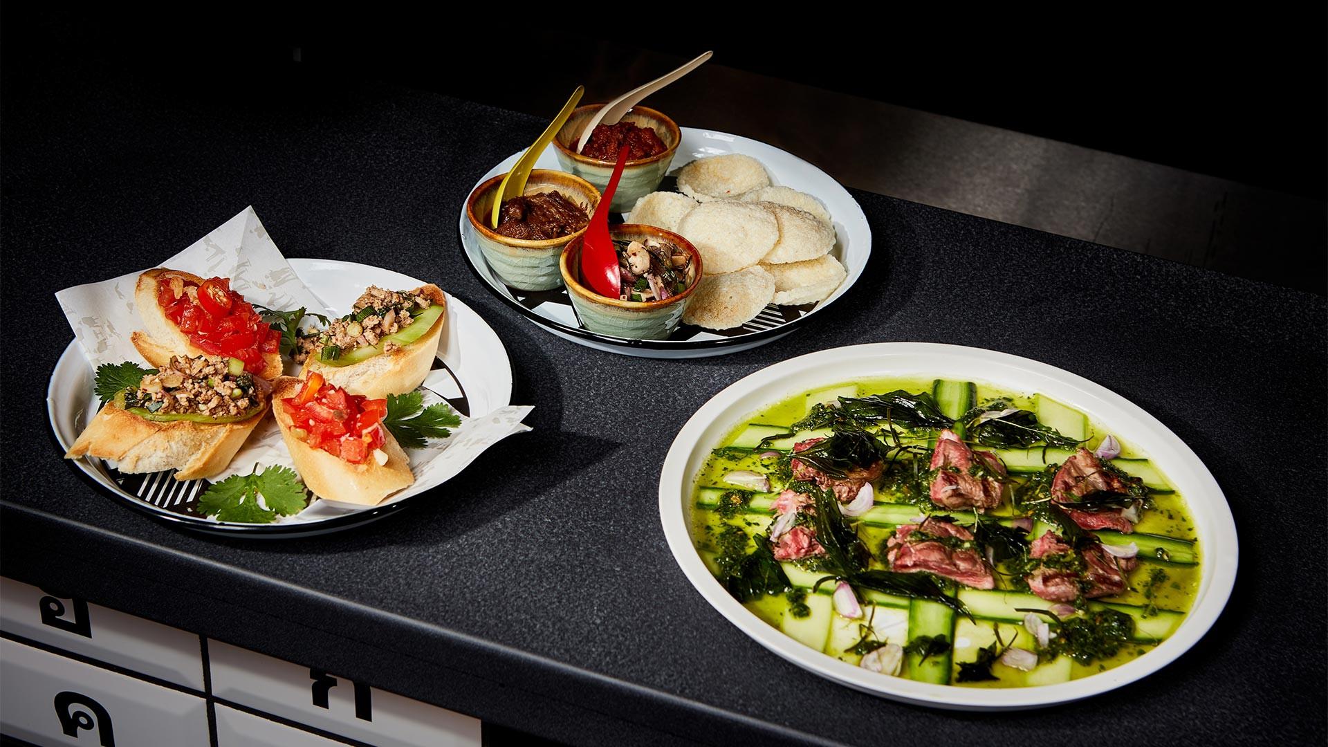 Bangkok bruschetta, khao tung and the Weeping Wolf lamb dish at Greyhound Café