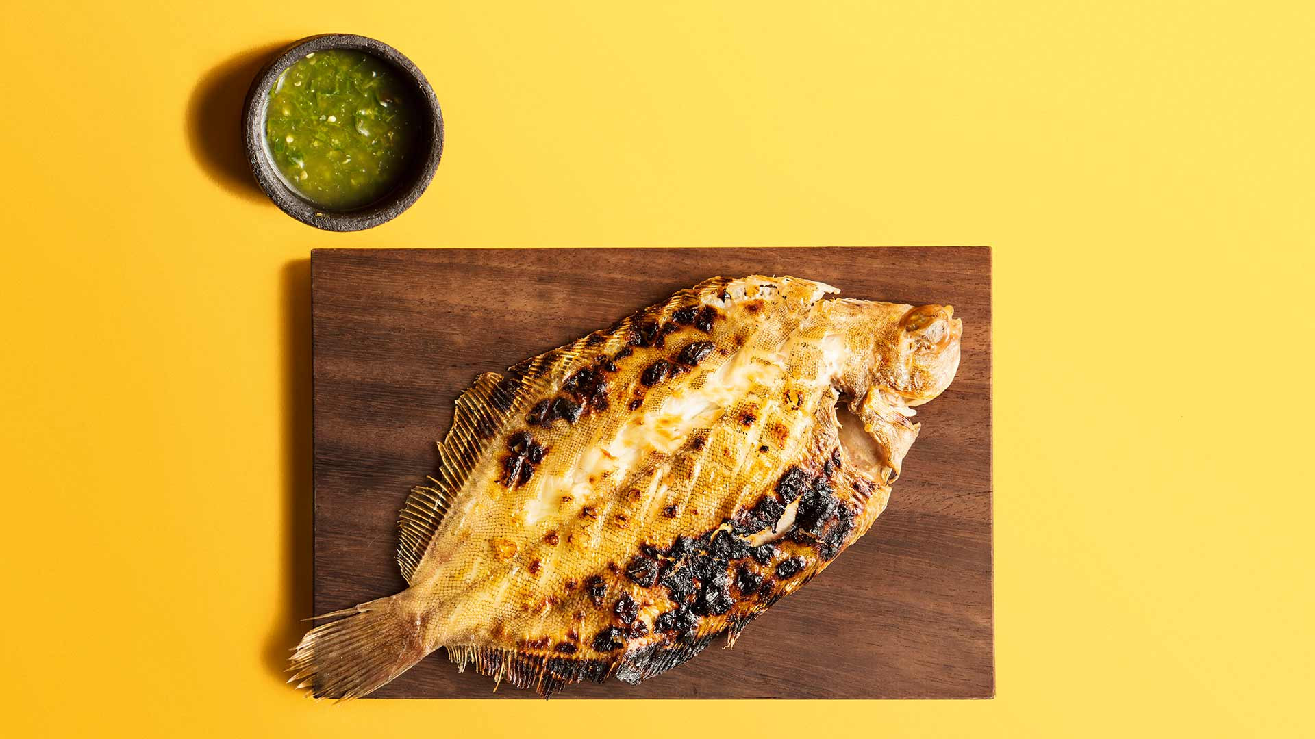 Slow-charcoal-grilled sole from Kiln