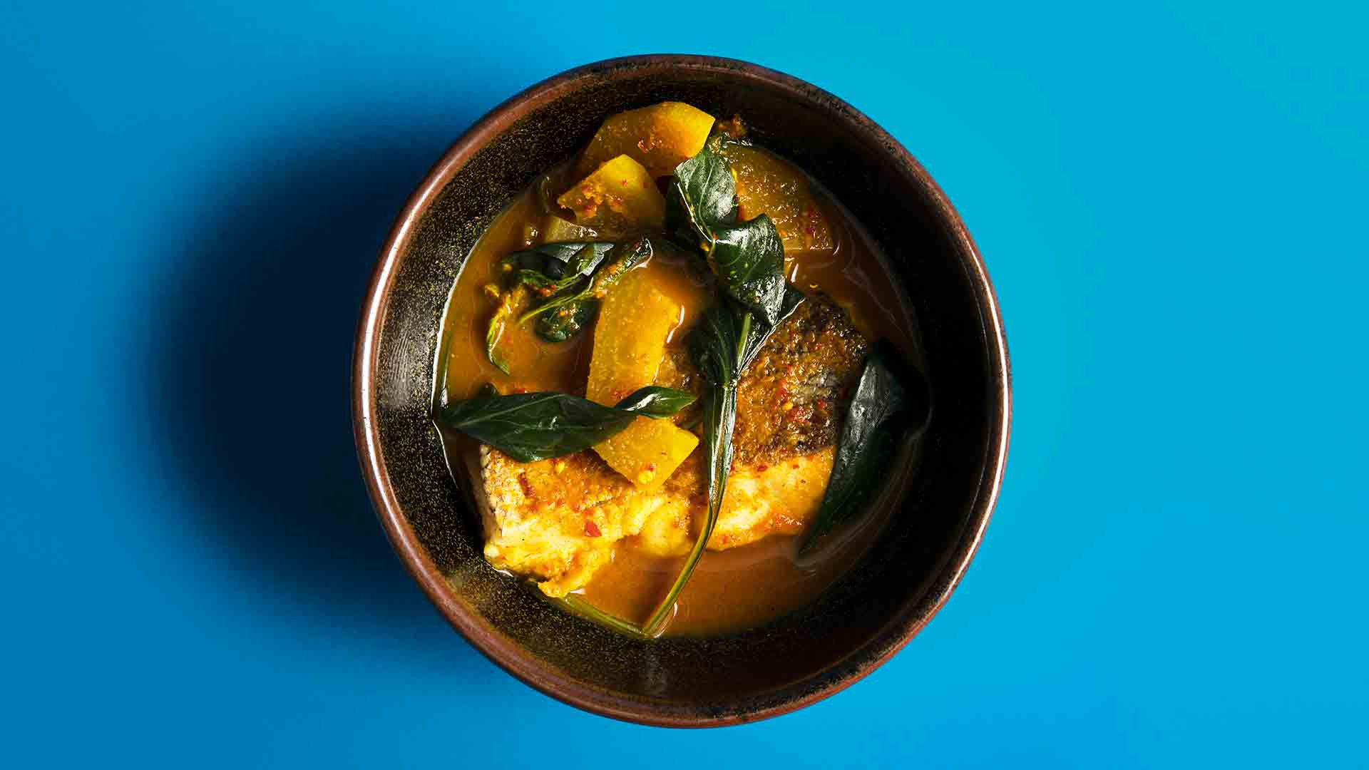 Sour turmeric curry of hake from Kiln