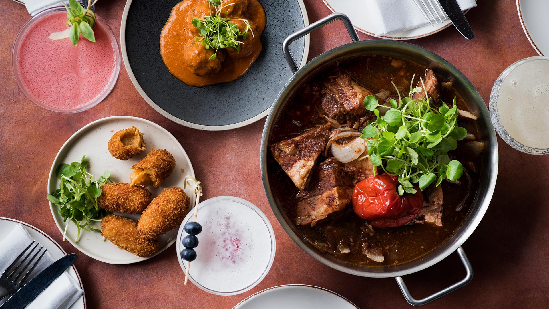 Prawn croquettes and pork adobo at Andina Notting Hill