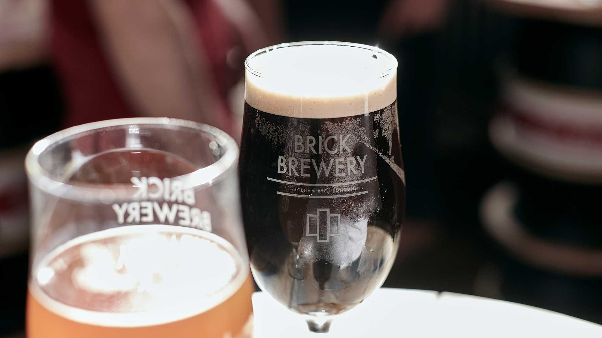 A pint of Blenheim Black beer in Brick Brewery, Peckham