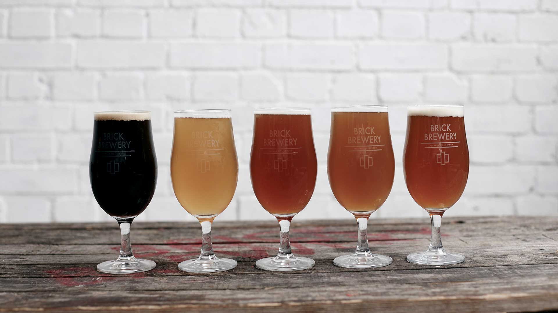 The lineup of beers at Brick Brewery, Peckham