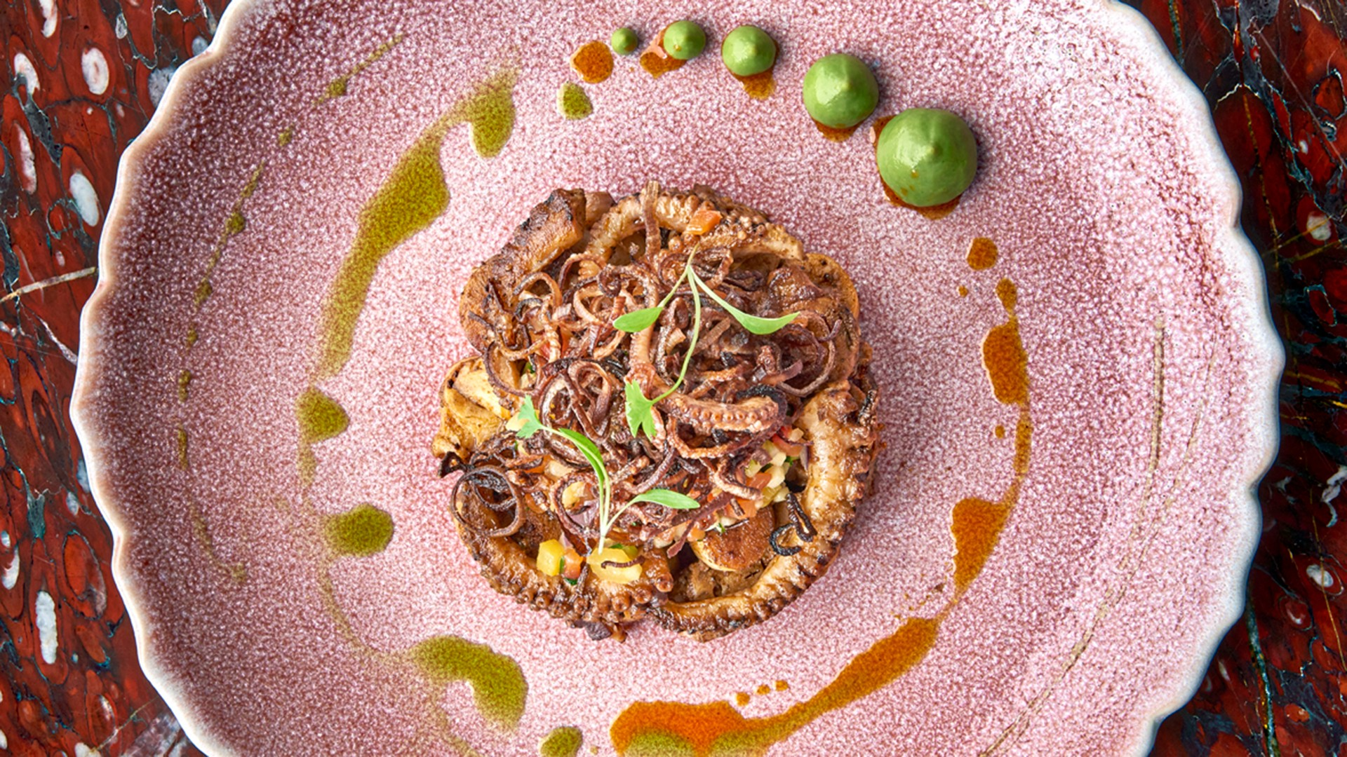 Ella Canta's octopus, smoked chile sauce and charred onion