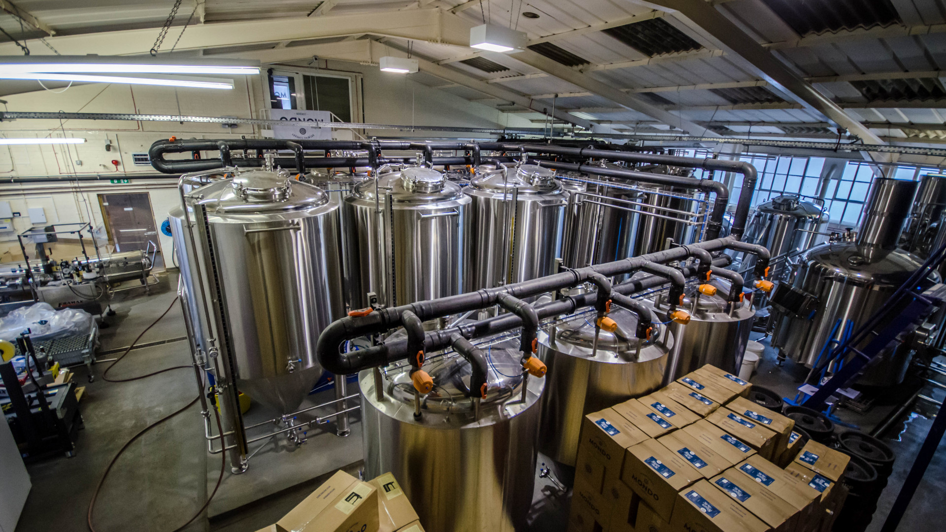The brewery at Mondo Brewing Company in South West London