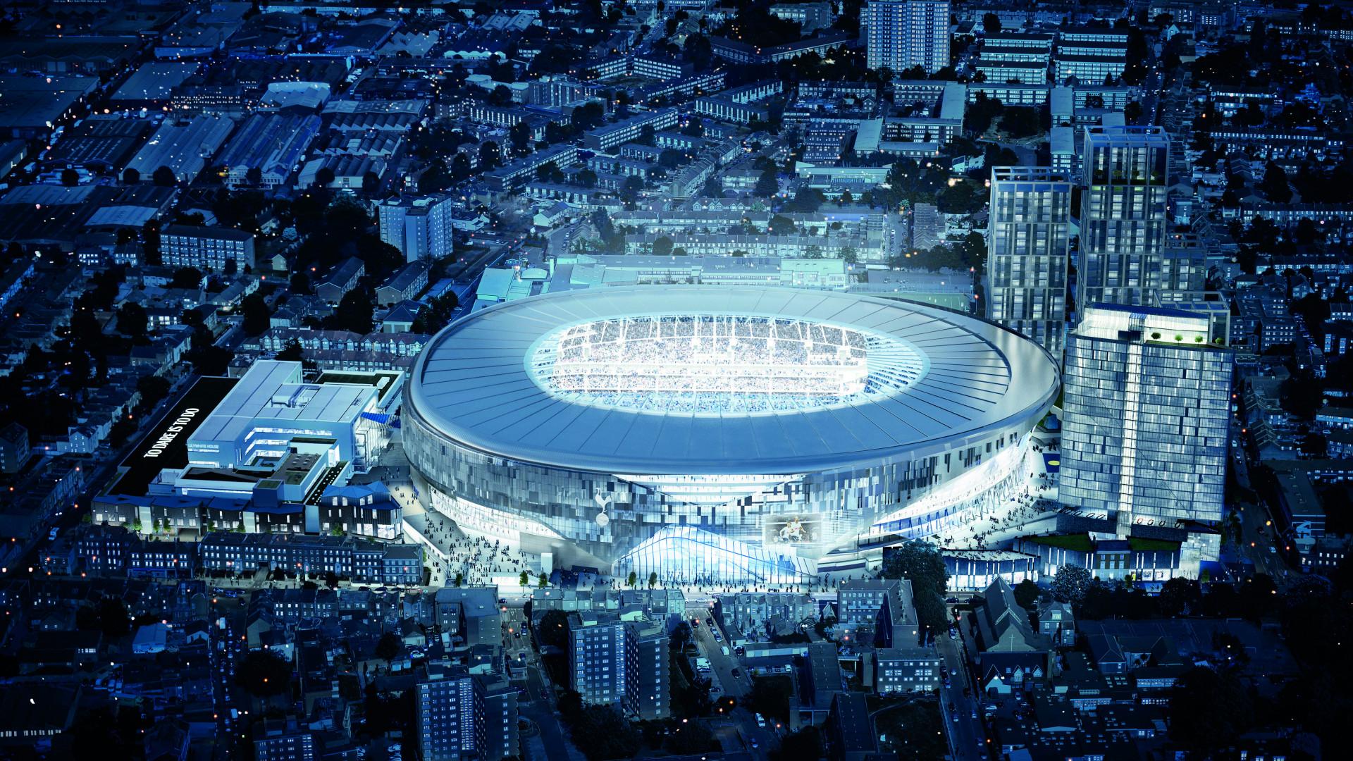 An evening shot of The Tottenham Hotspur Stadium