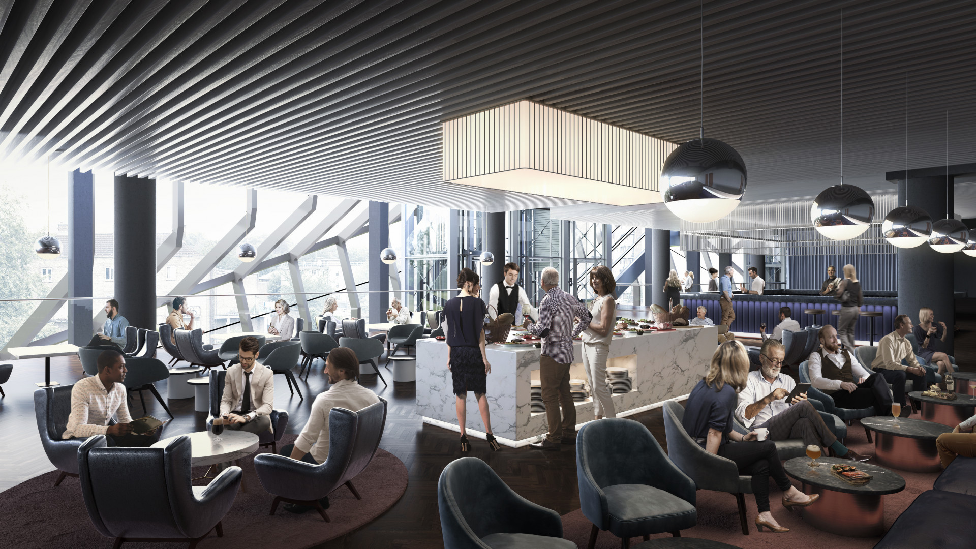 An Artist's rendering of the H Club at The Tottenham Hotspur Stadium