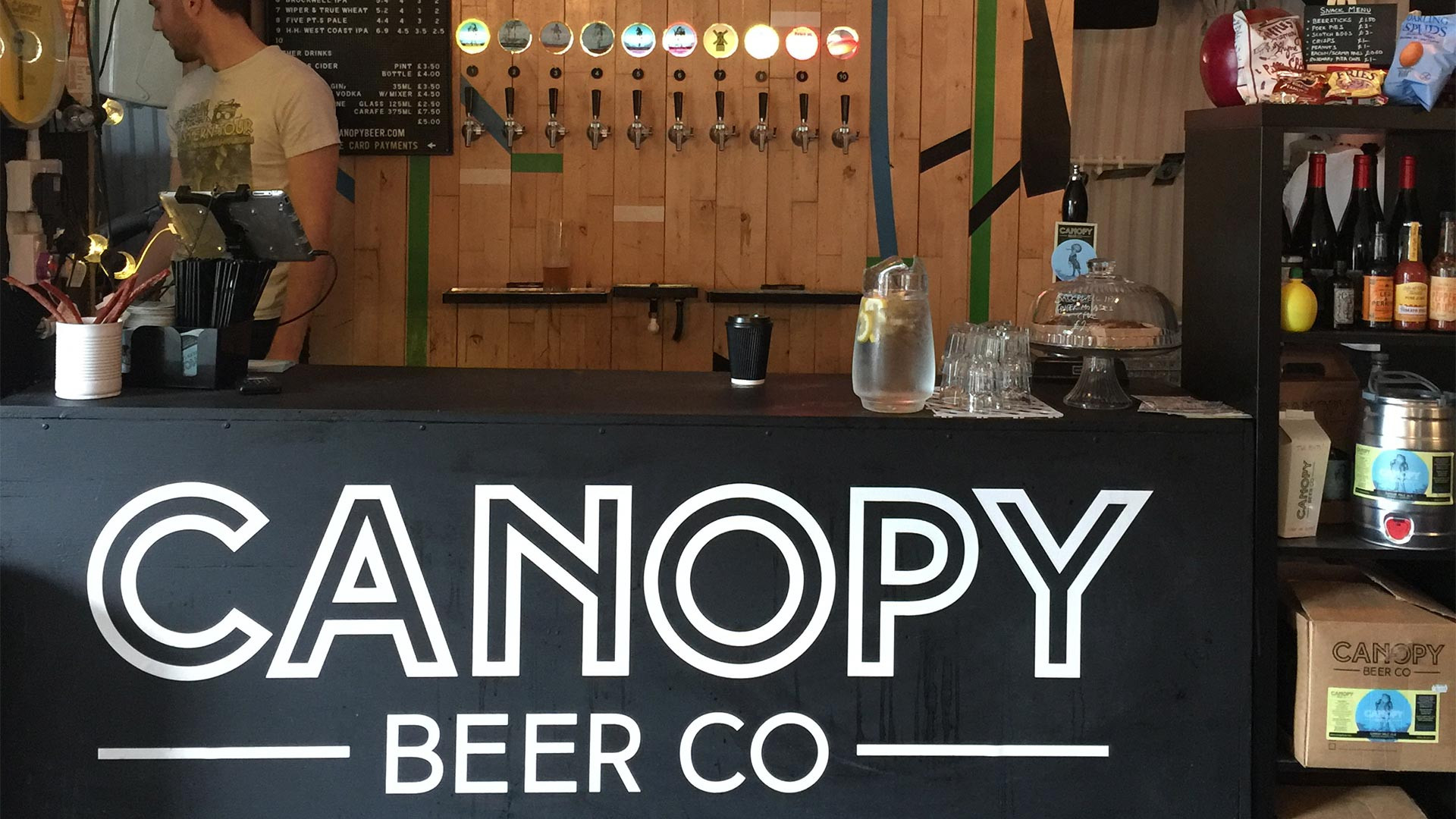 The bar at Canopy Beer Co taproom in Herne Hill, London