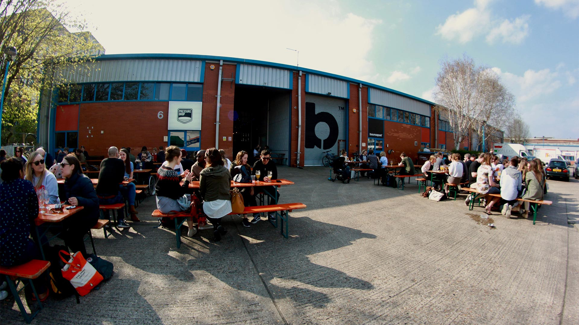 The beer garden at Pressure Drop brewery in Tottenham, London