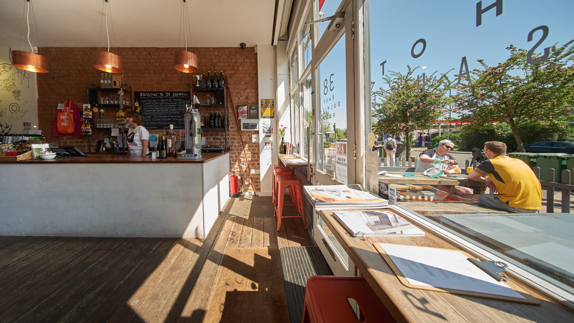 The interior and beer garden at Hop Burns & Black in East Dulwich, London
