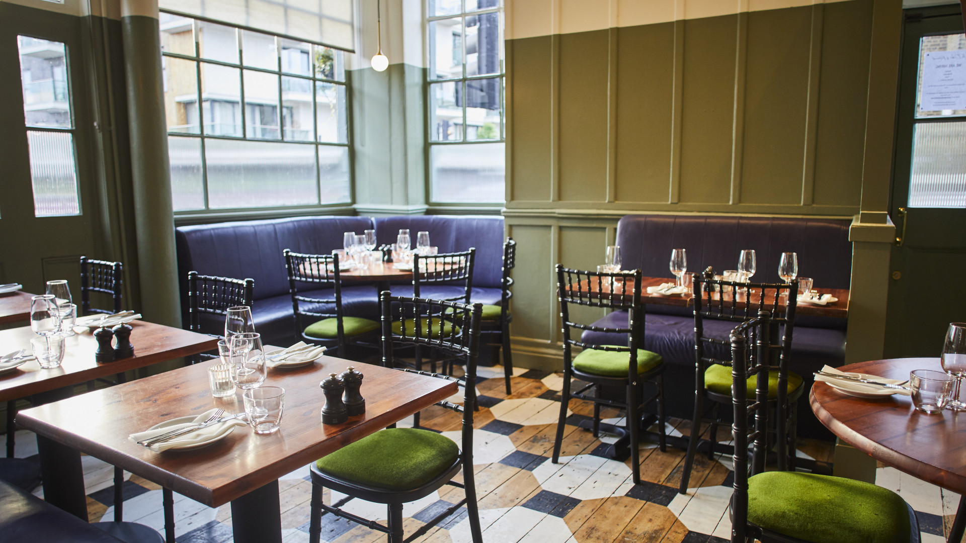 The dining room at The Duke of Richmond in Hackney