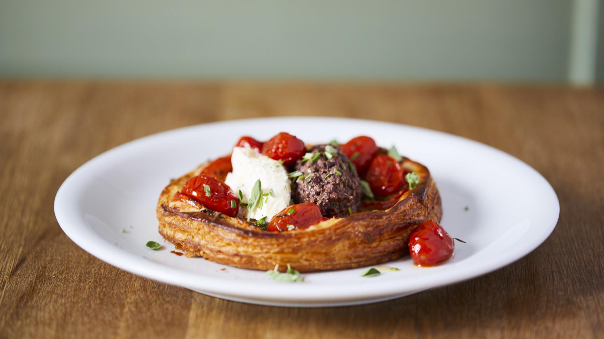 Confit tomato tarte fine at The Duke of Richmond in Hackney