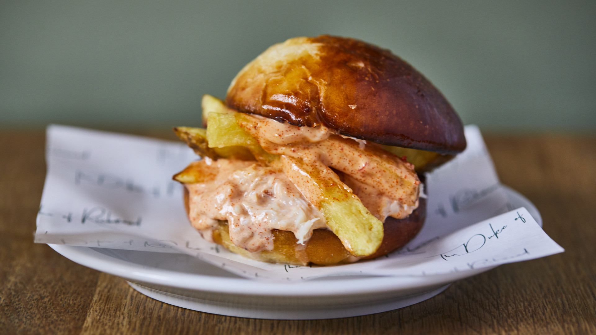 The crab butty from the bar menu at The Duke of Richmond in Hackney
