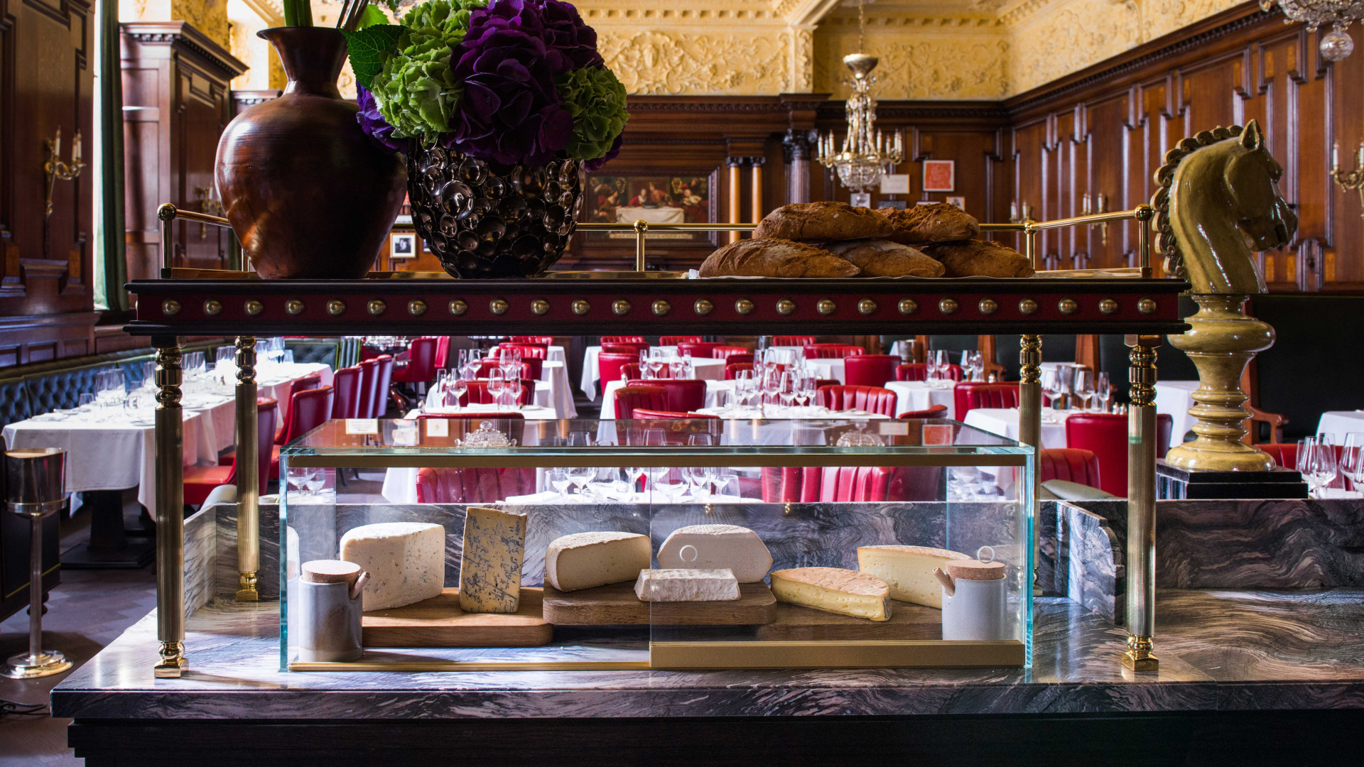 The cheese cabinet at Simpson's on the Strand
