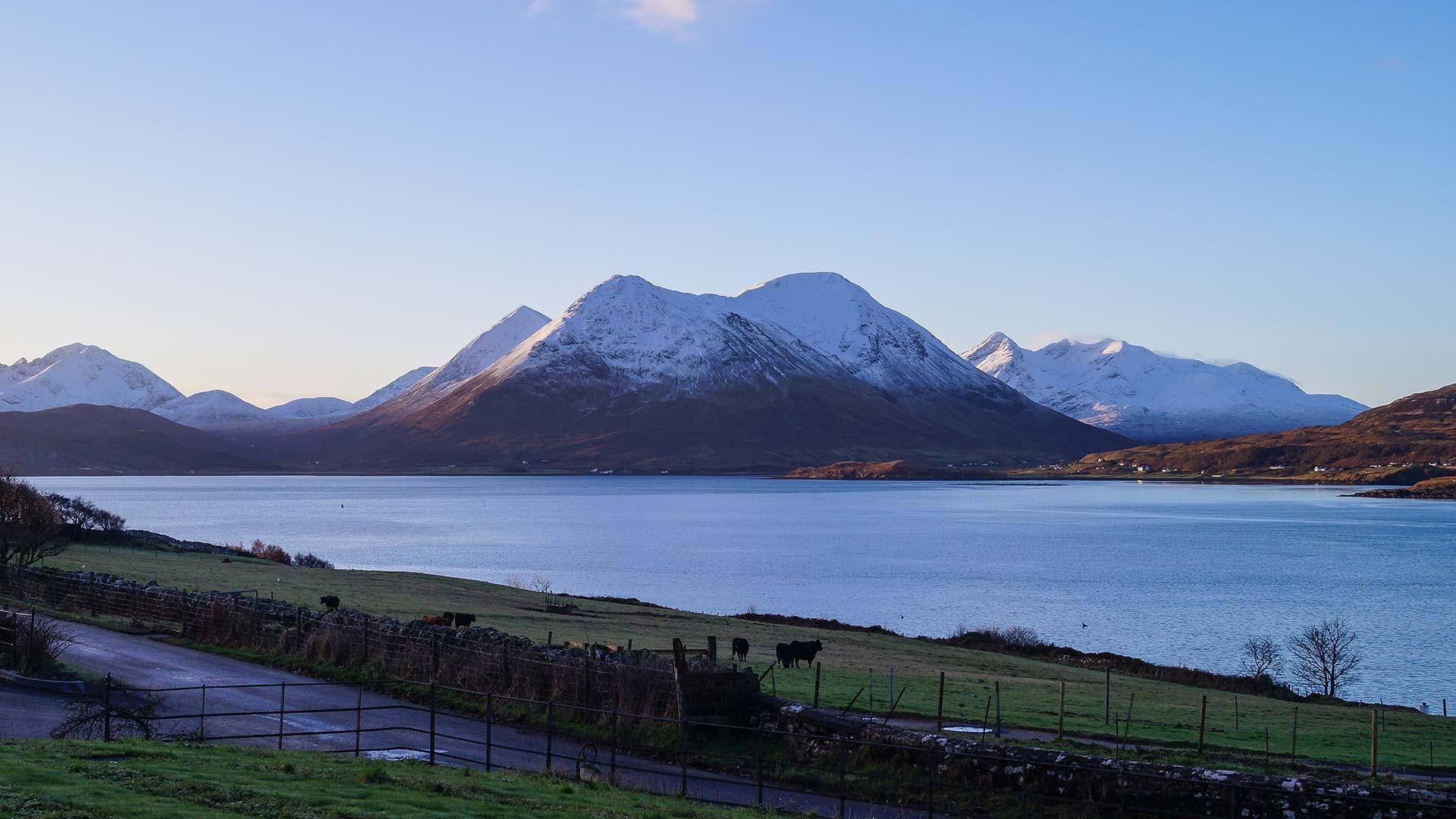 View of snowy Skye