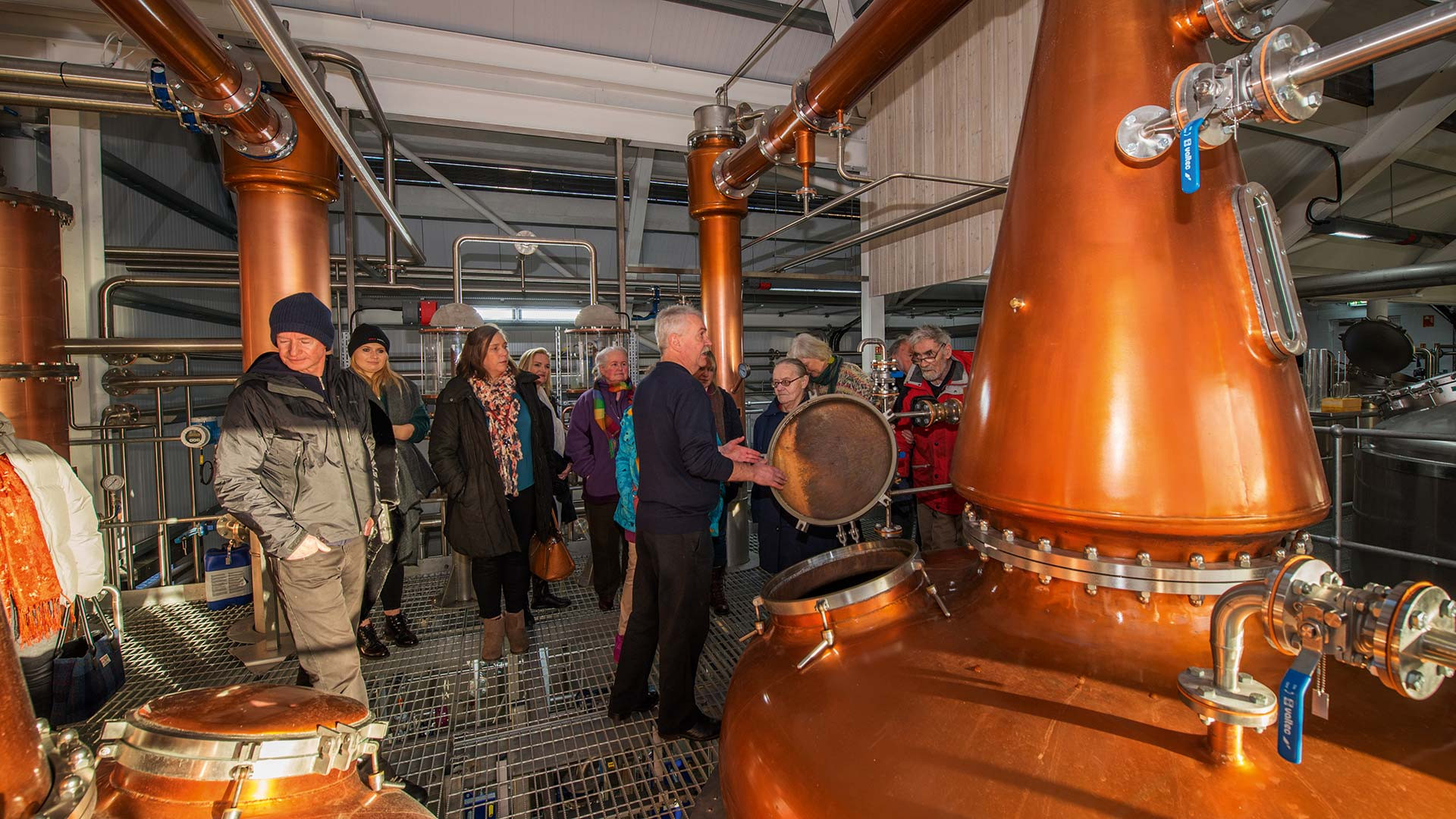 Taking a look at Raasay's copper pot-stills on a tour of the distillery