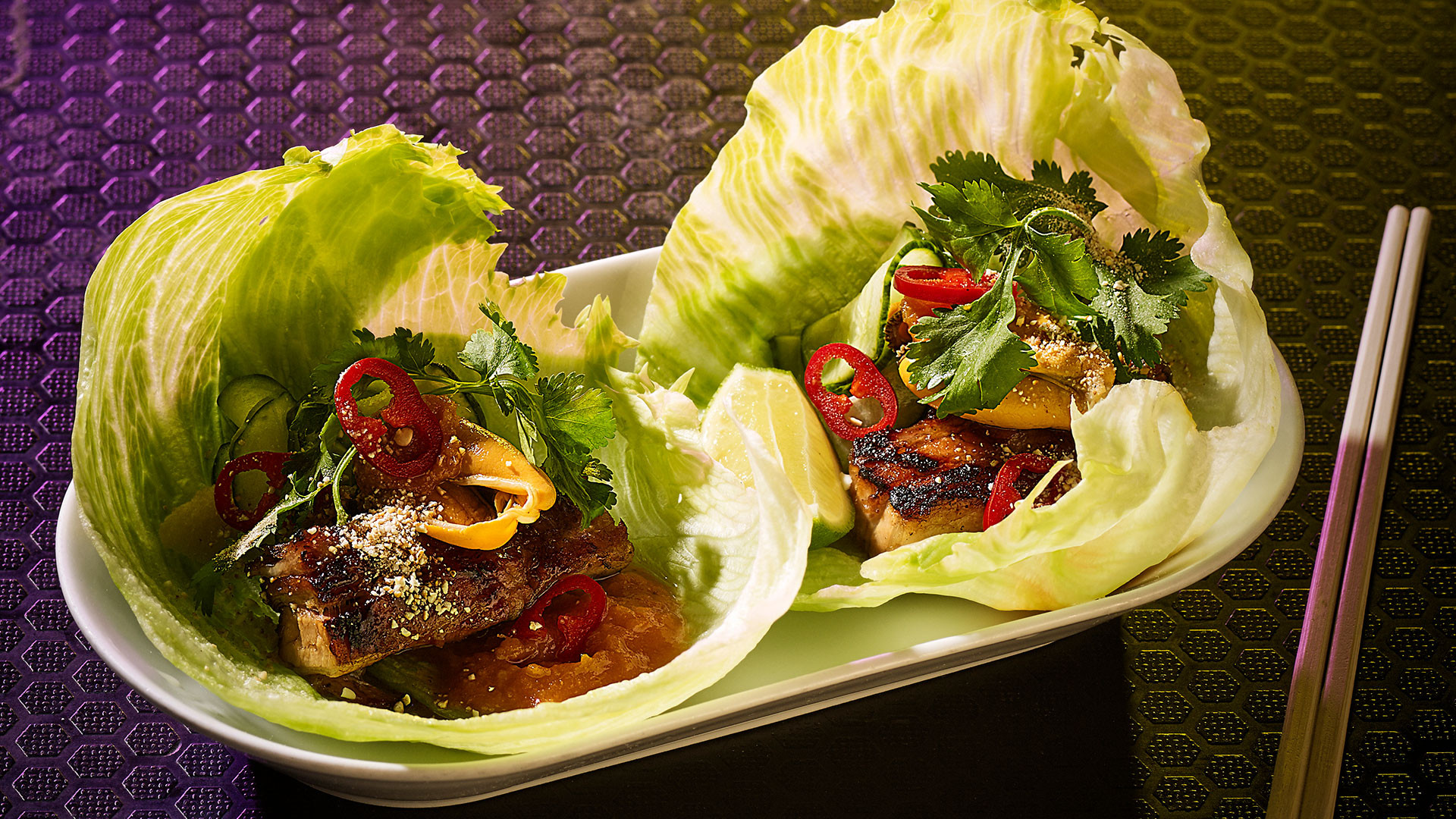 Honey-hoisin grilled pork belly lettuce wraps