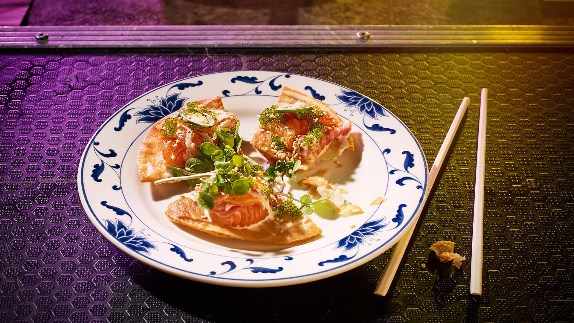 Loch Duart salmon sashimi pizza with truffle ponzu, jalapeno and wasabi tobiko