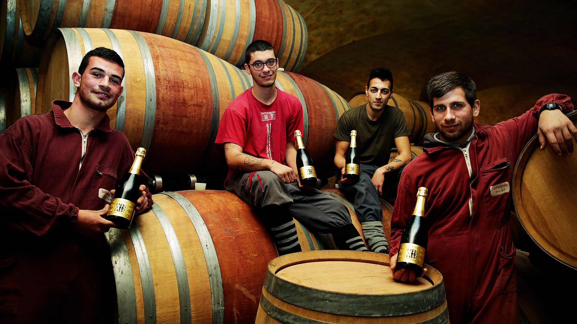 Residents in the ageing cellar, San Patrignano, Italy
