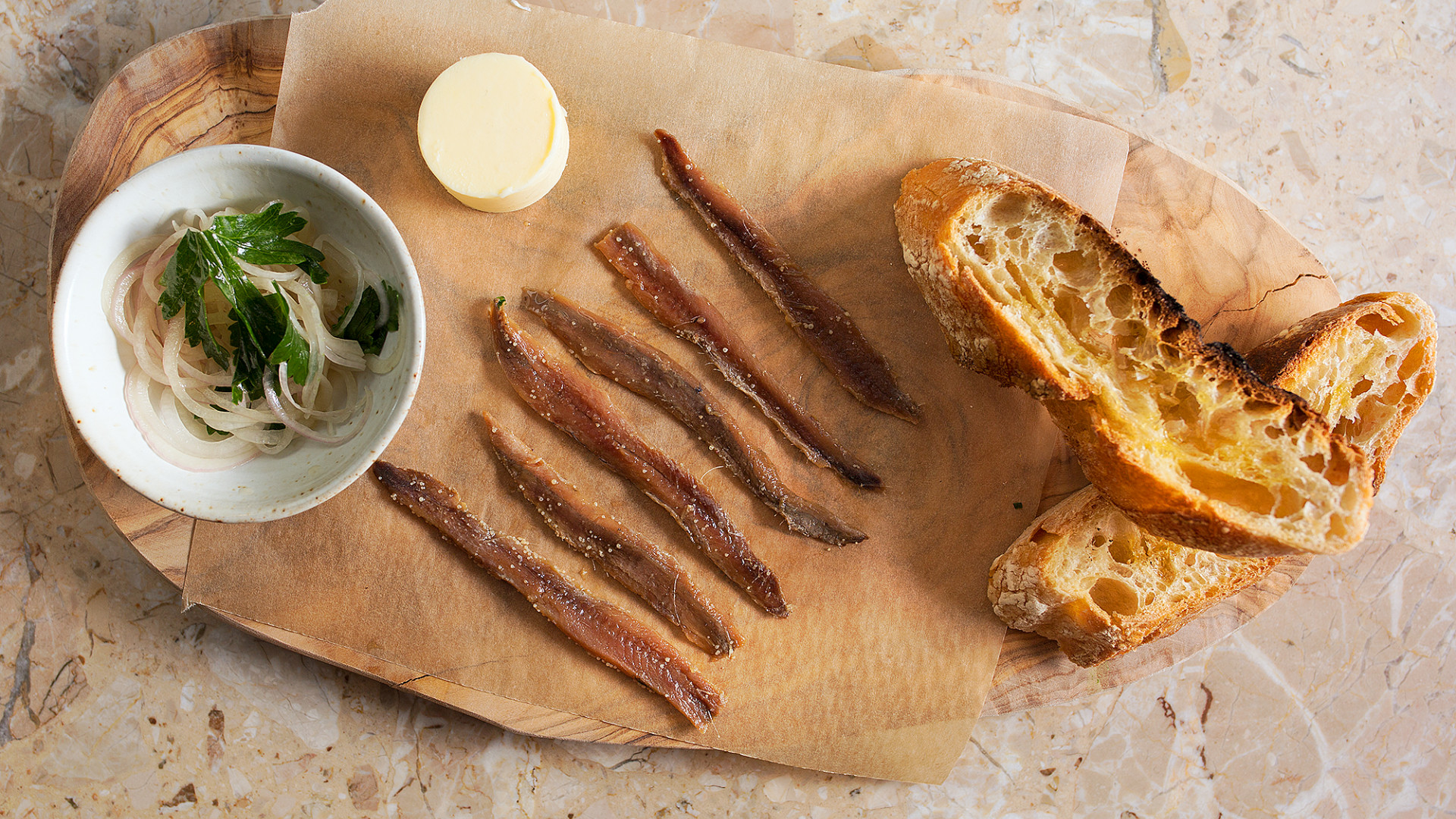 Anchovies and toast at Rambla in Soho