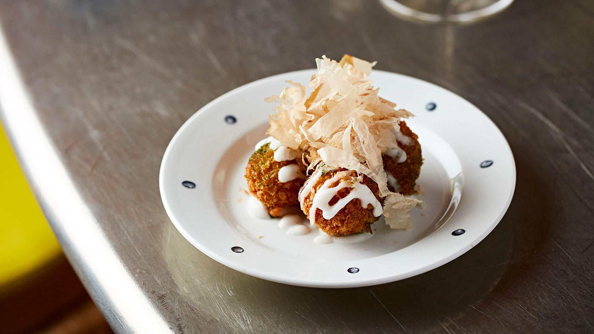 Salt cod takoyaki