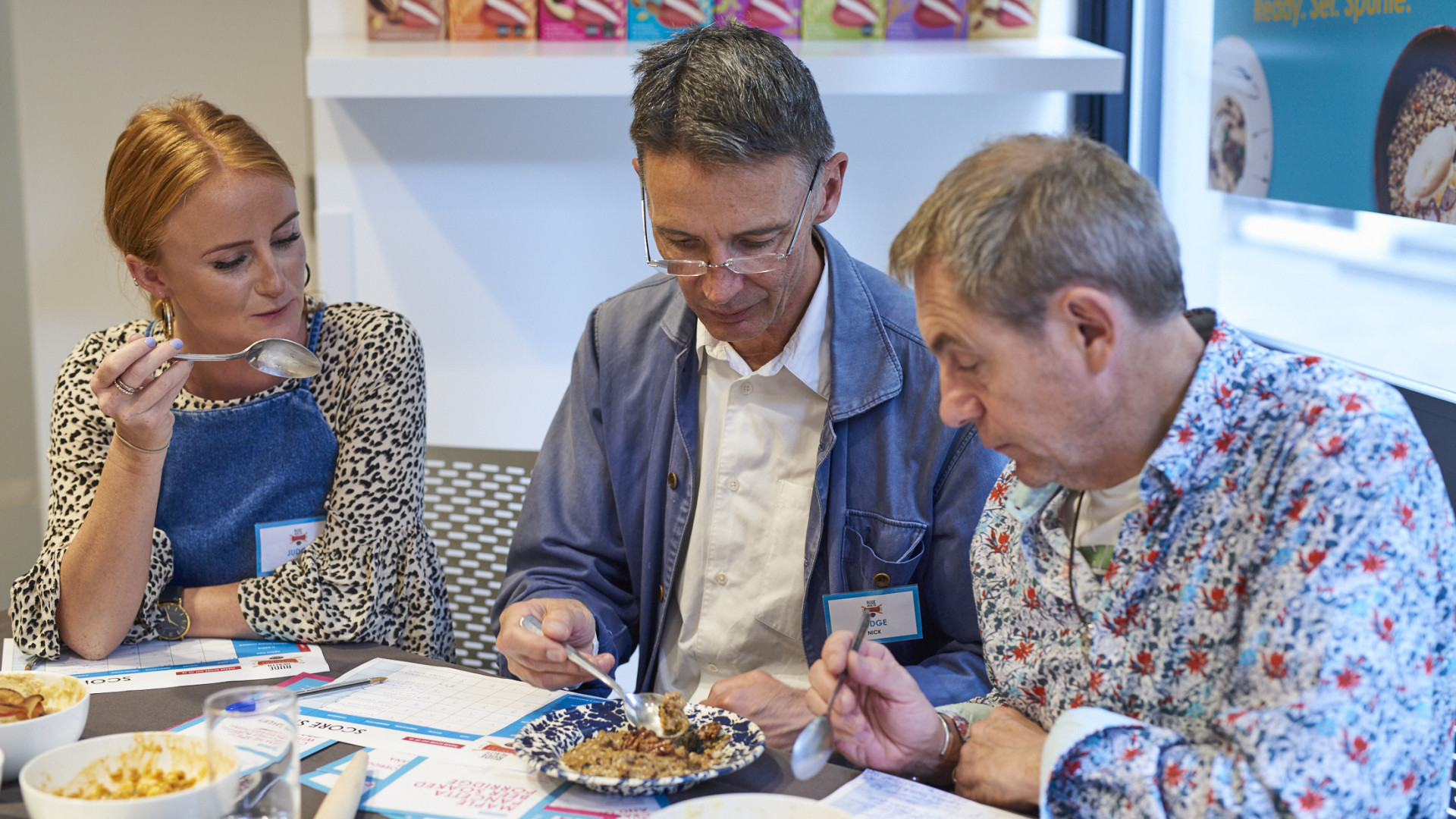 Judges at the Rude Health Porridge Championships 2018 taste Foodism's entry