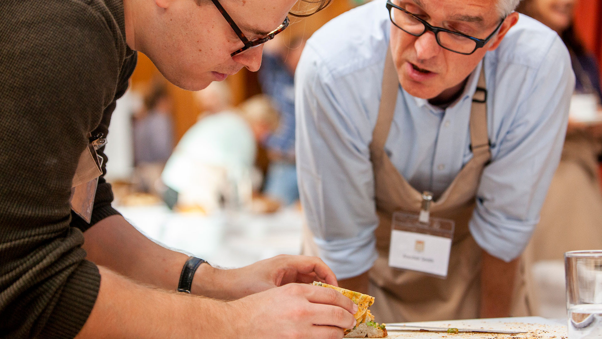 Mike Gibson (left) judging at the World Bread Awards