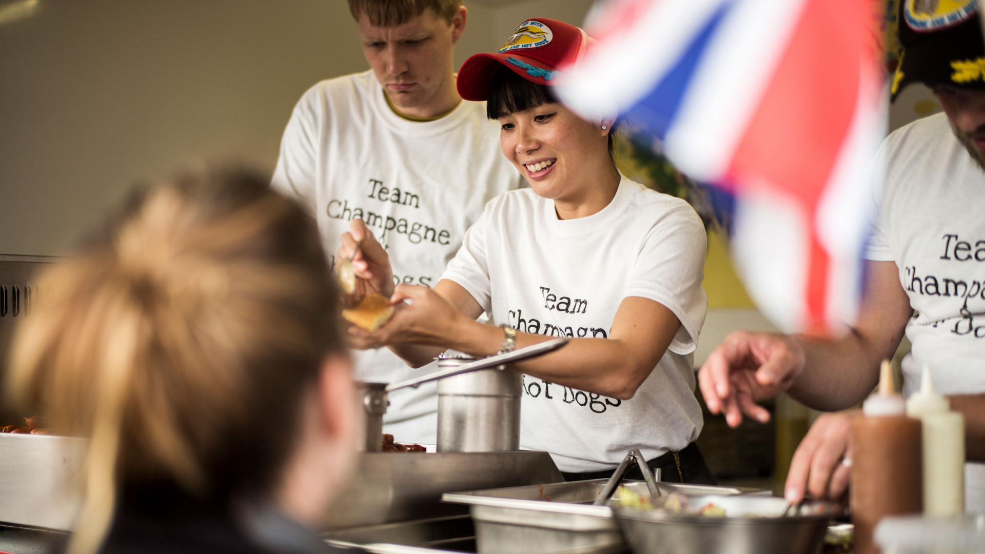Sandia Chang at the World Hot Dog Championships in Copenhagen