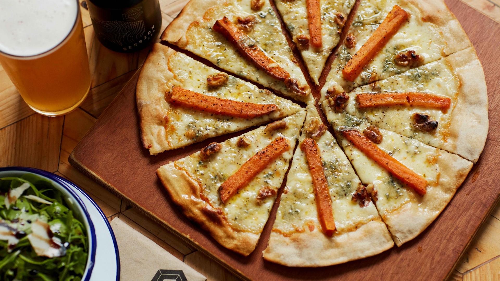 Crate's sweet potato, stilton and walnuts pizza