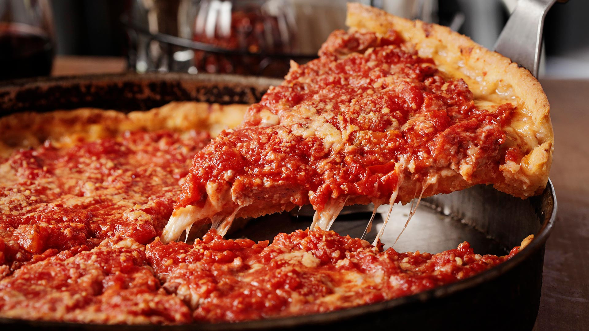 Chicago-style pizza from Lou Malnati's, Chicago