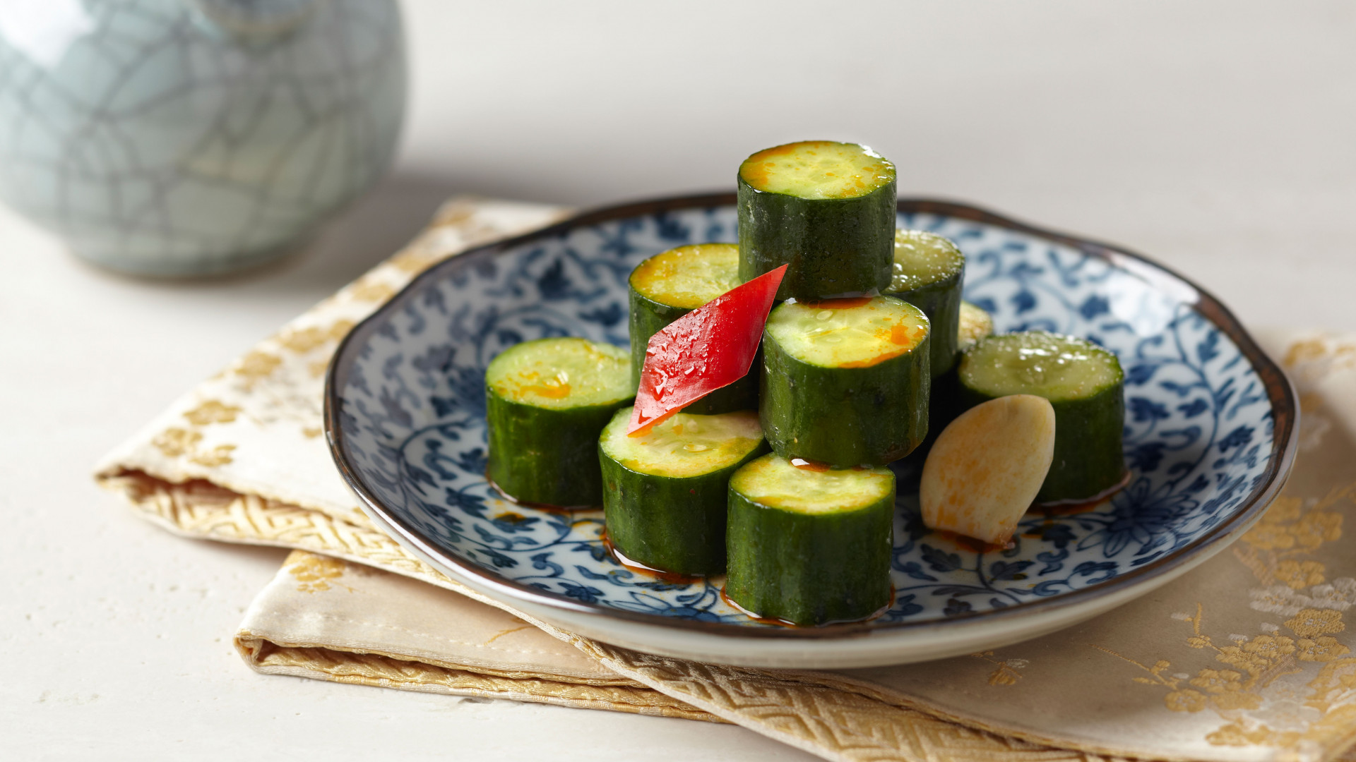 Cucumber dressed in garlic and chilli oil