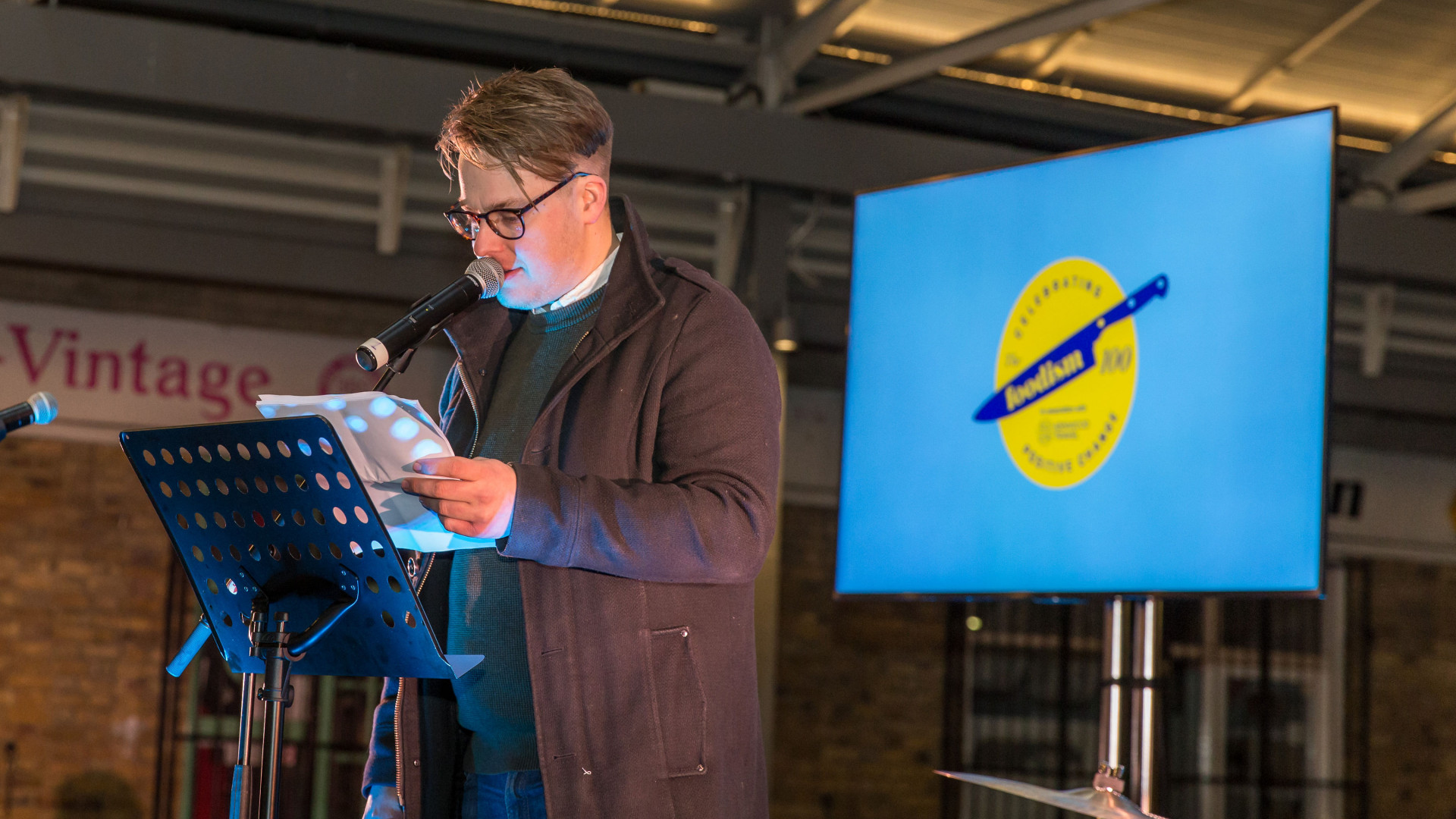 The Foodism 100 awards night 2019: Mike Gibson presenting the awards ceremony