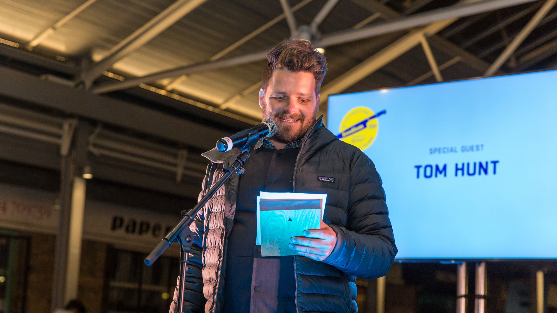 The Foodism 100 awards night 2019: guest speaker Tom Hunt addresses the crowd
