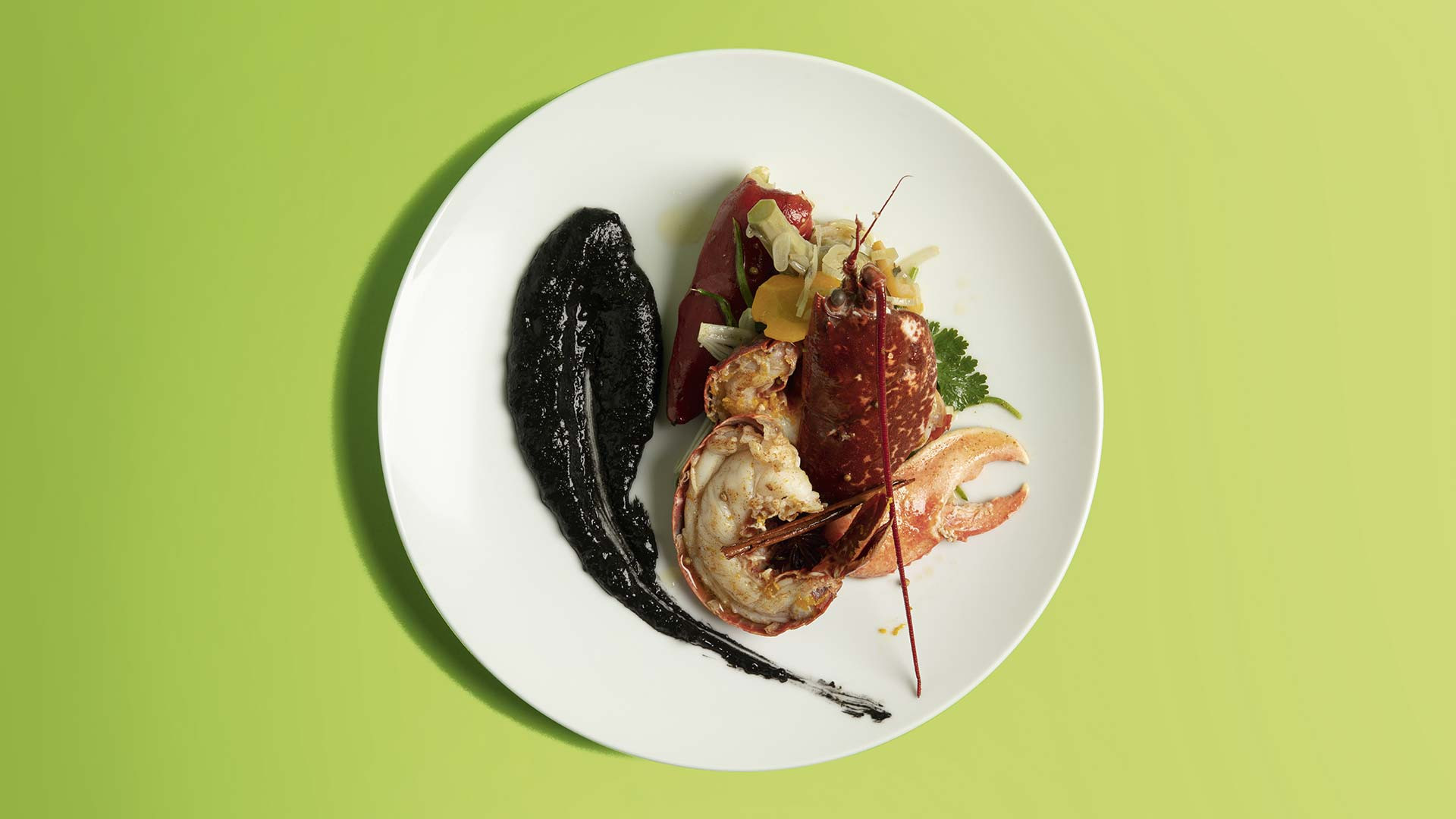 Cornish lobster with spices, lemon thyme and squid ink polenta