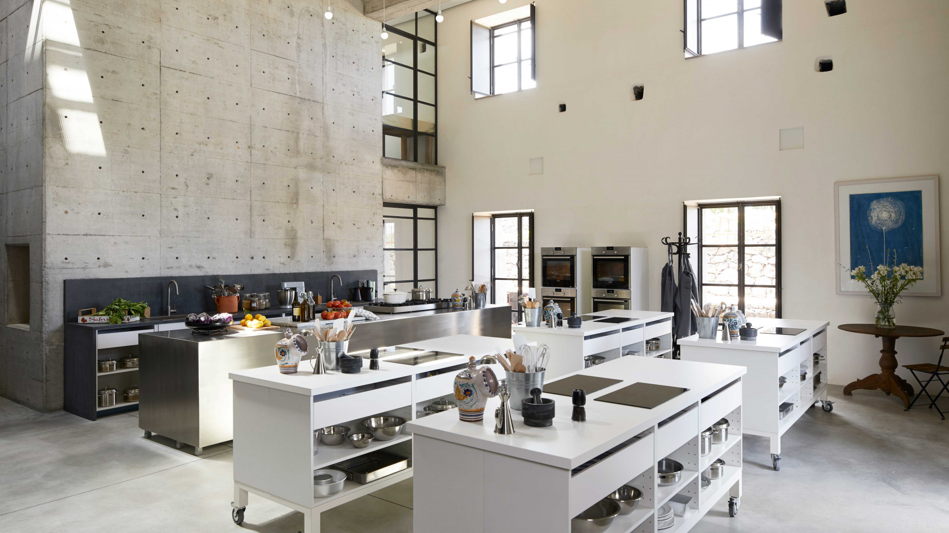 The kitchen at Rocca delle Tre Contrade where the hands-on portion of the culinary experience takes place