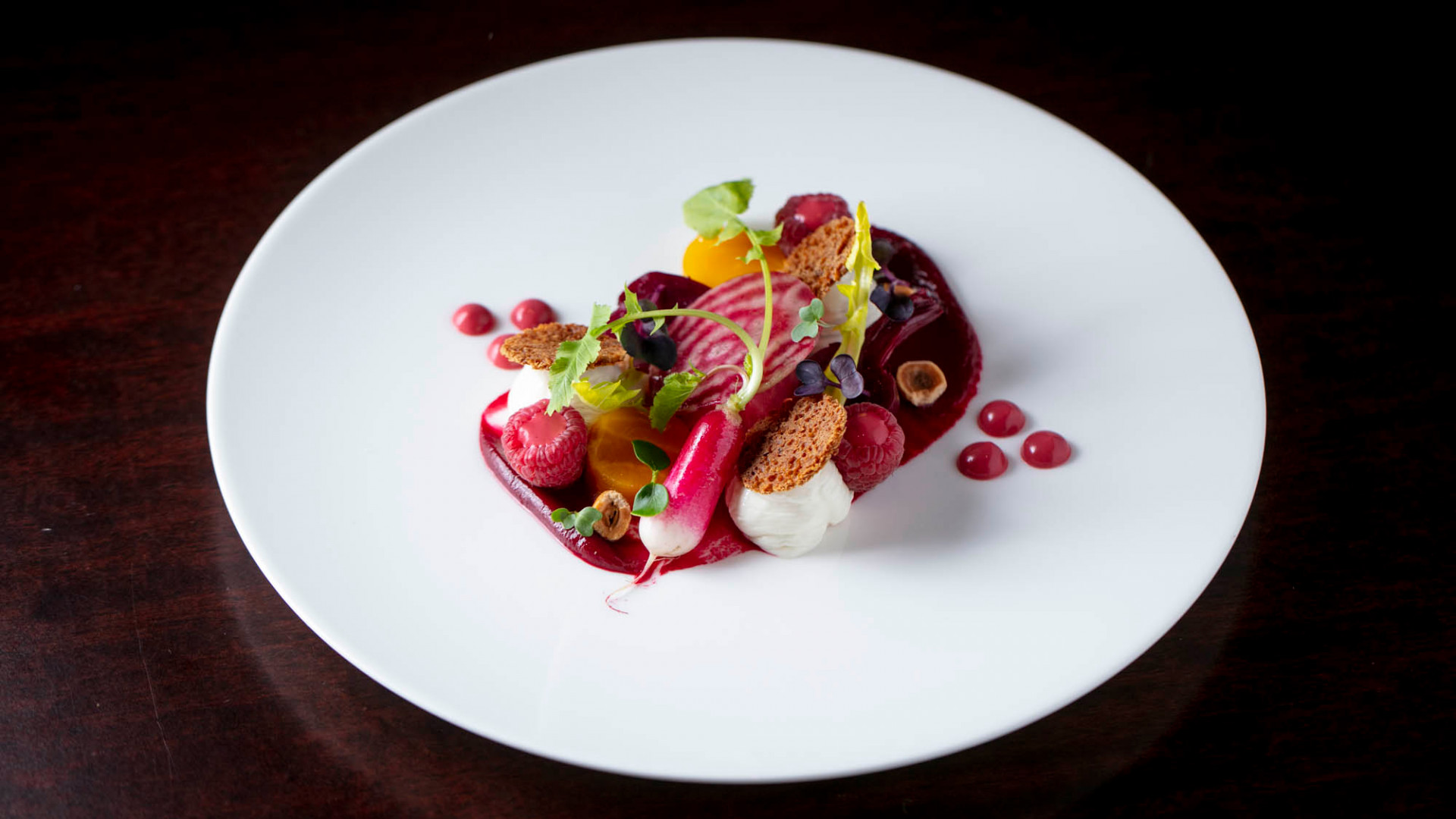Heritage beetroot & whipped goats' cheese salad with raspberry and gingerbread crisp and Quaglino's